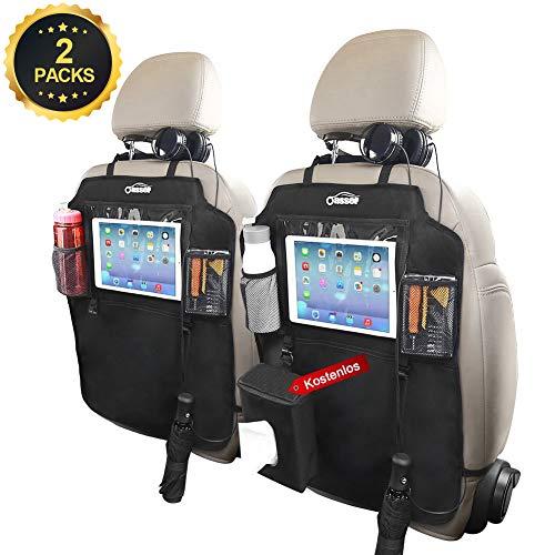 Oasser Rückenlehnen Kinder Auto Rückenlehnenschutz Rücksitztasche 2 pcs mit 3 Große Storage Organizer 10