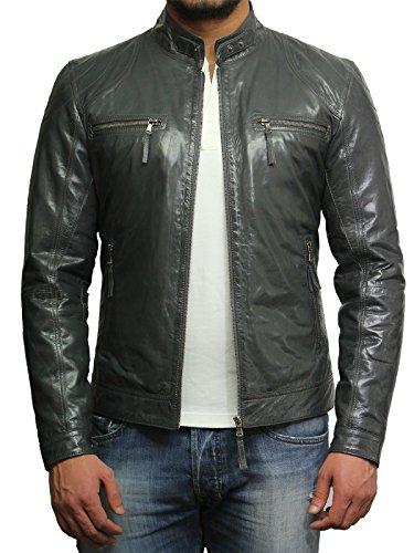 Brandslock Herren Lammfell Echt Leder Biker Jacke (4XL, Grau)