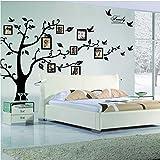 LifeJoy Grandi Nero Cornici 8 Frames inclusi sui rami degli alberi e svettanti Uccelli (71inch * 98inch) Art Wall Stickers e familiari-Lettering decalcomanie per Living Room, per cameretta