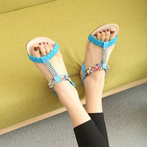 Hunpta Gummiband Frauen Sandalen Schuhe Casual Schuhe Sandalen Komfort Blau