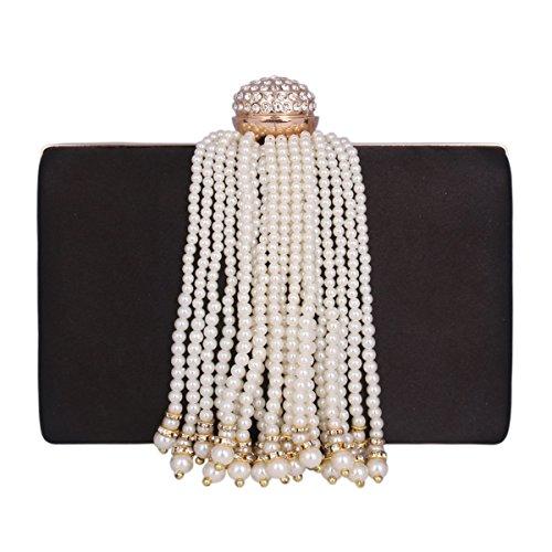 Damara® Elegant Damen Party Clutch Abendtasche Mit Künstlicher Perle Quaste Schwarz