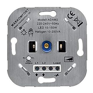 LED Dimmer 230V Unterputz PhasenABschnitt R,C 10-200W Drehdimmer geeignet für LED und Halogen Druck-Wechselschalter Dimmschalter