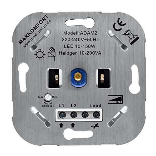 Led Dimmer 230v Unterputz Phasenabschnitt R,C 10-200w Einsatz geeignet für Led und Halogen Druckwechselschalter Dimmschalter