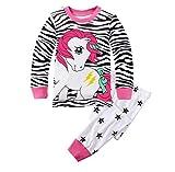 Chicas Pijamas Unicornio Ropa Cebra Traje de Dormir Invierno Homewear Camisetas (7-8Y)