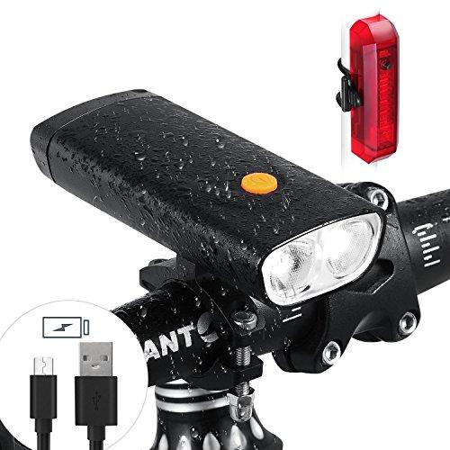 AngelaKerry LED Fahrradlicht Tragbares Ladegerät - 5000 mAh 1000 Lumen Wiederaufladbare Fahrrad Scheinwerfer mit USB-Ausgang Funktion - Wasserdicht Fahrrad Front Rücklicht Set passend für alle Fahrräder