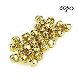 Yigo, 50 perle sfuse con campanellino da 25 mm, ideali come decorazioni natalizie da appendere o come accessori per le creazioni fai da te, Gold, 25MM(1 inch)
