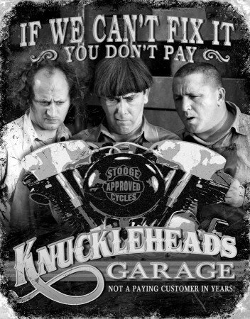 Three Stooges Knuckleheads Garage Distressed Retro Vintage Tin Sign - 32x41 cm