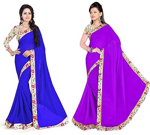 Aashi Saree Exclusive Combo Of Plain Chiffon Lacy Border Sarees (Blue & Purple)