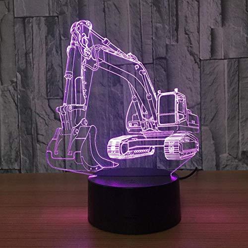 Bagger Usb Led 3D Licht Schaufel Traktor Betonmischer Hebe 3D Visuelle Illusion Lampe Fahrzeug Lkw Kinder Nachtlicht -