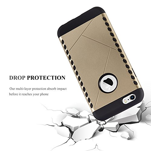 Apple iPhone 6 / 6S Hybrid Hülle in GOLD von Cadorabo - Hard Case TPU Silikon Schutz-hülle Hybrid Cover im Outdoor Heavy Duty Design – Handy-hülle Bumper Case Tasche Etui GUARDIAN-GOLD