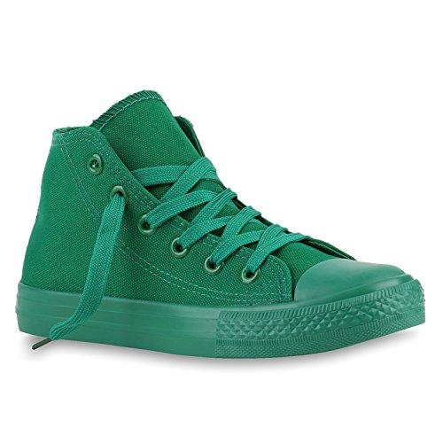 Sapatilhas De Cano Alto Lace Sapatos Tênis Crianças Das Verde Tecido HwRUSS