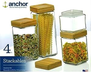 Anchor Hocking Lot de 4 pots de conservation empilables en verre carré avec couvercle hermétique en bambou