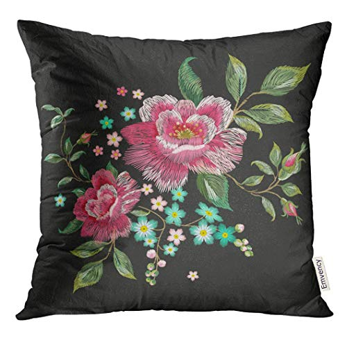 Throw Pillow Cover Oriental Floral Pattern with Pink Roses Traditional Embroidered Patch Flowers on Black Asian Decorative Pillow Case Home Decor Square 18x18 Inches Pillowcase