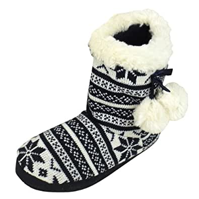 Womens Quality Furry Bootee Ankle Boot Slipper Ladies Eskimo Slippers Sizes 3-4