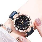 EJOLG Mode Damen Armbanduhr,Mit leuchtenden,Milanese Mesh Magnetische Attraction Uhrarmband,Diamant formspiegel,Klassisch Damen Uhr