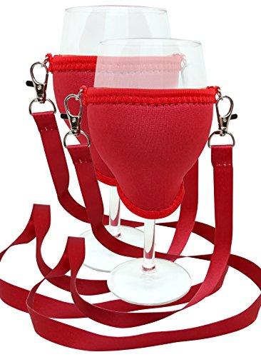 WineHolder - Weinglas-Halter für Den Hals, Weinglashalterung inkl. Halstrageband (Lanyard) (Rot 2er Set)