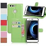 MaxKu Huawei Honor 8 Pro Hülle, Premium PU Leder Mappen Kasten für Huawei Honor 8 Pro Smartphone, Grün