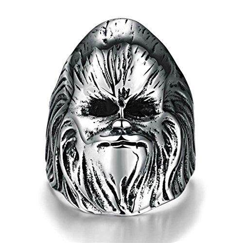 Edelstahl Ringe, Herren Finger Ring Herrenring Böse Zauberer Silber Gr.60(19.1) Epinki