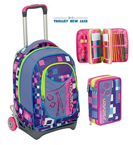 cb424ca120 TROLLEY SEVEN NEW JACK – BUNDLE GIRL – Viola Rosa – + Astuccio 3 zip SGANCIABILE  e LAVABILE – Scuola e viaggio
