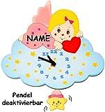 Unbekannt Wanduhr - Uhr aus Holz -  Engel / Engelchen mit Wolke - rosa - pink  - incl. Name - 29 cm groß - sehr leise ! - Pendel abnehmbar - für Kinderzimmer & Wohnzi..