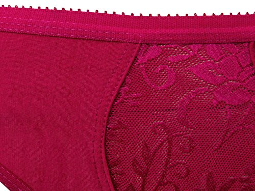 Nutex-Sangini Wirefree Nicht Gepolsterte Blumenspitze Dessous Damen BH & Panty Set Magenta