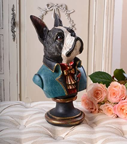 French Bulldog Bust Head Sculpture Rococo Palazzo