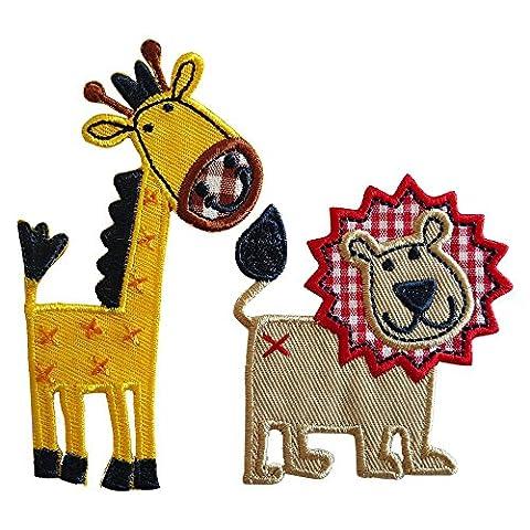 Löwe 6X7cm Giraffe 5X10cm flicken Aufnäher Stoff Patch Kleider zum Aufbügeln auf Jeans Rock Hosen (Windsor Testa)