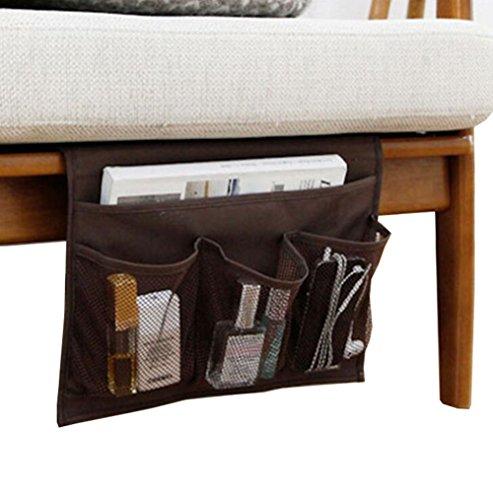 Braun Lagerung Couch (Ammon Lowen Nachttisch Lagerung Organizer Tisch Nachttisch Schrank hängende Aufbewahrung Organizer Caddy für Aufbewahrung der Fernbedienung Handys Gläser braun)