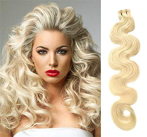 Cinta rizada extensiones cabello Rubio platino Cinta