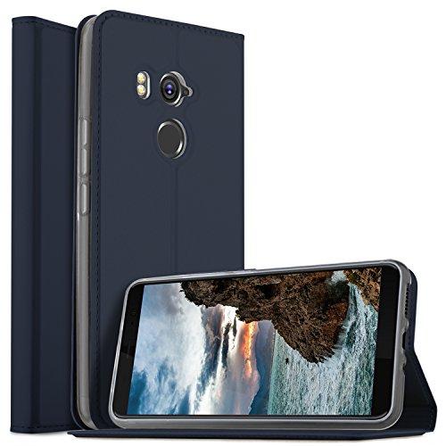 HTC U11 Plus Hülle, KuGi HTC U11 Plus Flip Bookstyle Kompletter Schutz Mit Magnetverschluss und Standfunktion Tasche Etui Cover Case Schutzhülle für HTC U11 Plus Smartphone (Blau)