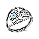 Plata de ley con el anillo de Hamsa del ojo con el anillo de piedra - Tamaño, 9 (15,60 mm)