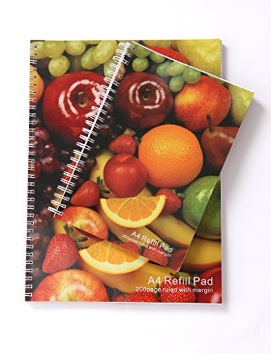 Sprial Note book writing pad A4 size mixed fruit design