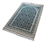 #7: Janamaz Momin Bazaar High Quality Islamic Muslim Janamaz Musallah Prayer Mat Rug DIAMOND GREEN
