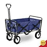 Hooseng Foldable Pull Wagon Hand Garden Transport Collapsible Portable Folding Cart Blue