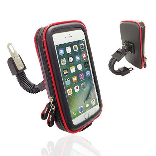 Motociclo Impermeabile Supporto Telefono, Wrcibo Migliorato Universale Titolare Moto Elettrica Retrovisore Specchio Telefono Insiemi - Misura Grande (Larghezza Massima: 3.5, Altezza: 7.0 Pollice)
