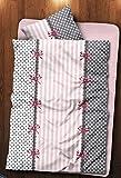 4 tlg Winter Flausch Fleece Bettwäsche Mikrofaser 135x 200 cm Thermofleece weich kuschelig Gepunktet Gestreift Marie Rosa