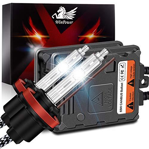 WinPower H11 H8 H9 55W Auto Kit Xenon HID con Zavorra e CAN-Bus Super decoder Faro Sostituzione Lampadina 6000K Puro Bianca, 2 pezzi