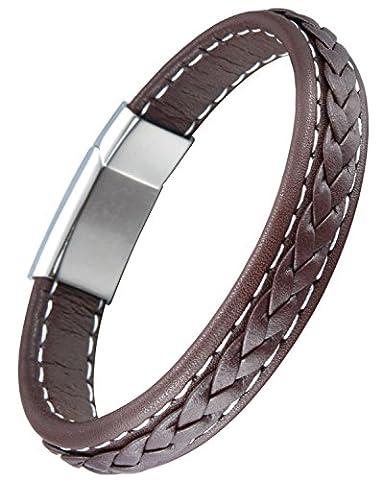 OSTAN - Gotik 316L Edelstahl und Leder Armband Armbänder fur Herren - Neue Mode Schmuck Armschmuck,