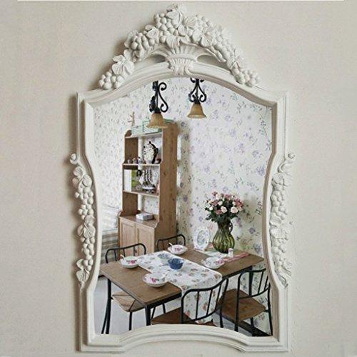 Européenne- Miroir Miroir de salle de bains exotiques Murale rétro miroir Entrée Dressing Toilettes antiques américain Décoration Beauté Lavage étanche Miroir Bienvenue ( Couleur : Blanc grapevine )