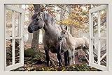 Unified Distribution Pferd mit Fohlen im Wald - Wandtattoo mit 3D Effekt, Aufkleber für Wände und Türen Größe: 92x61 cm, Stil: Fenster