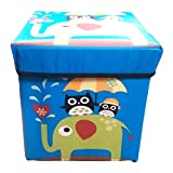 Foldable Laundry Storage Box Cum Sitting Stool Folding Polyster Stool Printed Storage Box (Blue)