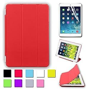 BESDATA Housse de protection Etui Smart Couverture En Polyuréthane + Coque Arrière Pour iPad Mini (Rouge)