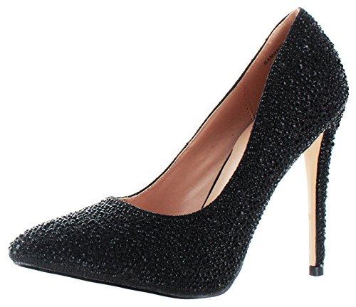 Lauren Lorraine Samantha Donna Strass pompe Abito scarpe Taglie UK, nero (Black Sparkle), 39 1/3