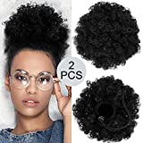 2 Pieces Afro Puff Drawstring Ponytail Synthetic Short Curly Hair Afro Bun Extension Afro Chignon Hairpieces Wig Updo Hair Extensions (Black)