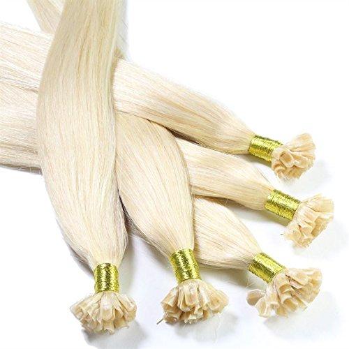 Just Beautiful Hair 50X Bonding Extension in capelli veri Premium, 60cm, 1G Extension, liscia–Colore 60lichtblond