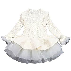 Kinder Mädchen Gestrickte Pullover Winter Pullover Crochet Tutu Kleid Tops Kleidung Pullover Jacke Winter Puffy Rock