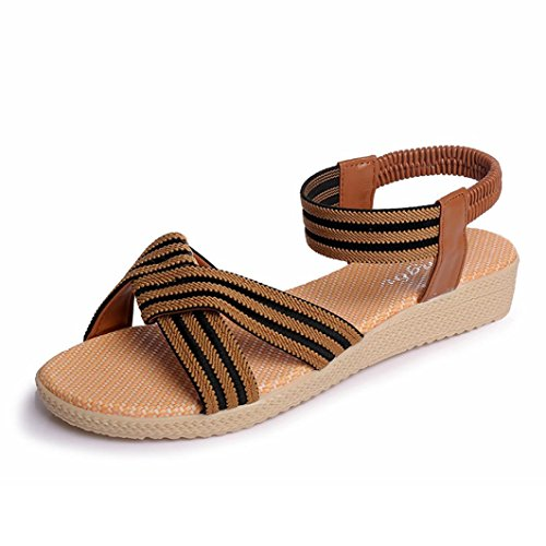 Transer ® Femmes rayé Bohème plat sandales Peep-Toe doux tongs Marron