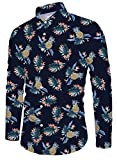 Funnycokid Männer Pineapple Shirt Hawaii Style Langarm Style Lässig Urlaub Hemd Herren Oberteile