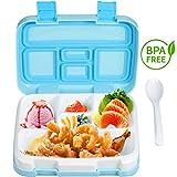 Comfook Lunch Box for Kids, Bento Box per Bambini, BPA-Free, Contenitore per Il Pranzo con Cucchiaio 5 Scomparto a Prova di perdite Resistente per Viaggi Picnic Scuola (Blu)