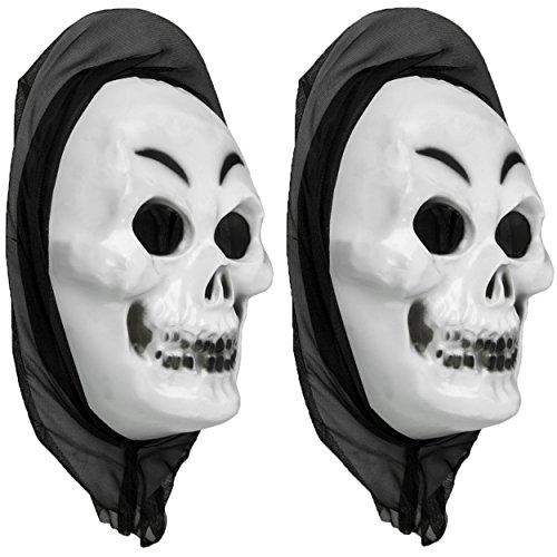 2x Schädel Halloween Fasching Karneval Maske gruselig - Skelett Totenkopf Skull mit Kopftuch - Skelettschädel Gesichtsmaske für (Scary Movie Skelett)